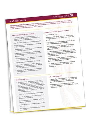 PAD Fact Sheet Lafayette | PAD Facts Lafayette